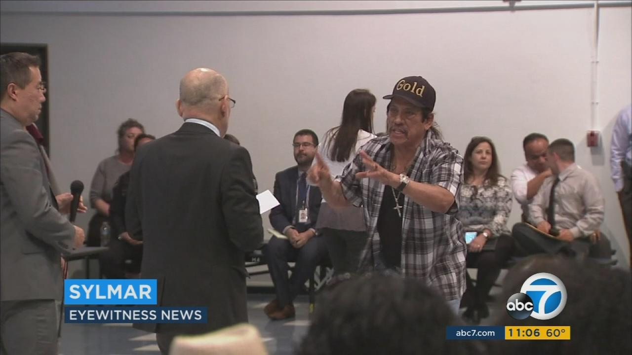 Danny Trejo speaks at a meeting held at Sylmar High School on Wednesday, May 11, 2016, to address a fight that broke out earlier in the week.