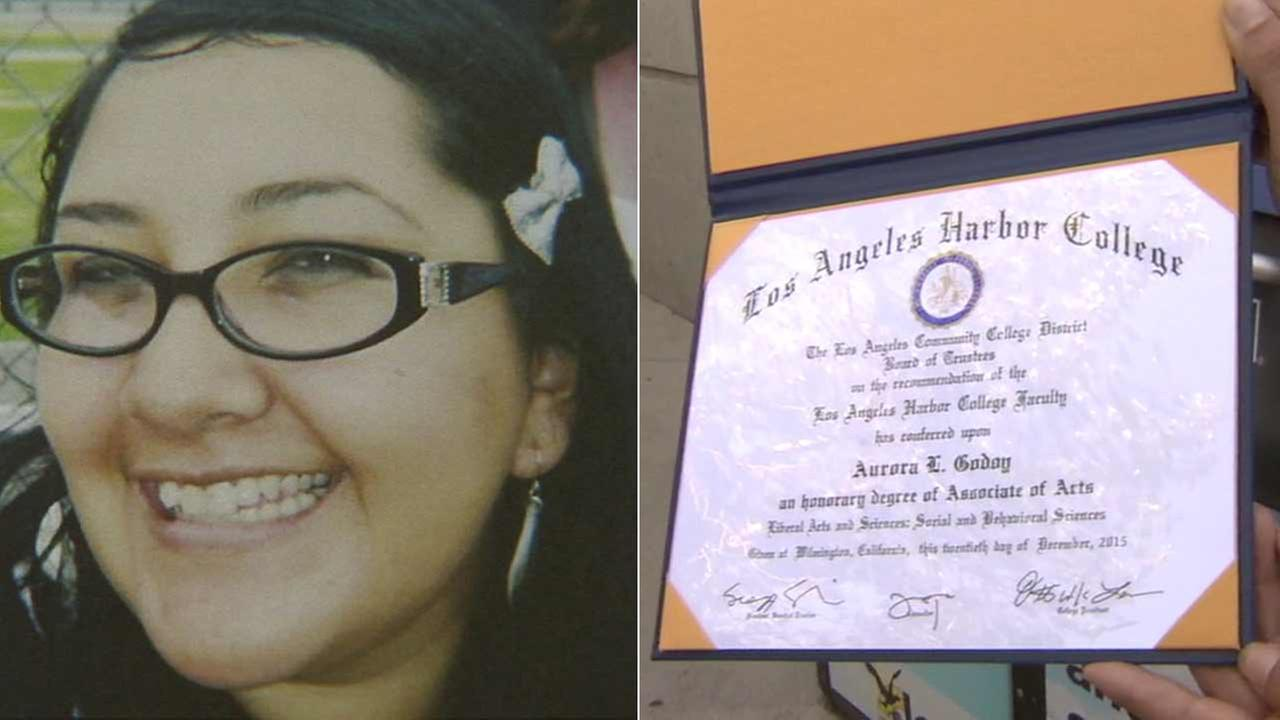 Aurora Godoy, who was killed in the San Bernardino mass shooting, received a posthumous degree from Los Angeles Harbor College on Wednesday, May 11, 2016.