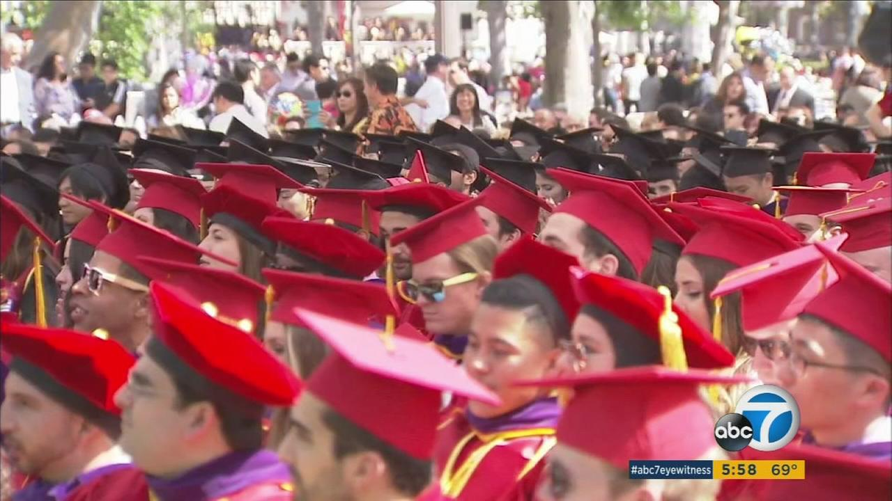 USC law school graduates sit at their commencement on Friday, May 13, 2016.