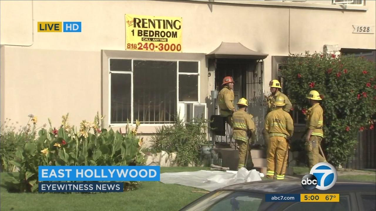 The body of a 73-year-old woman was found after a fire ripped through her East Hollywood apartment Saturday.