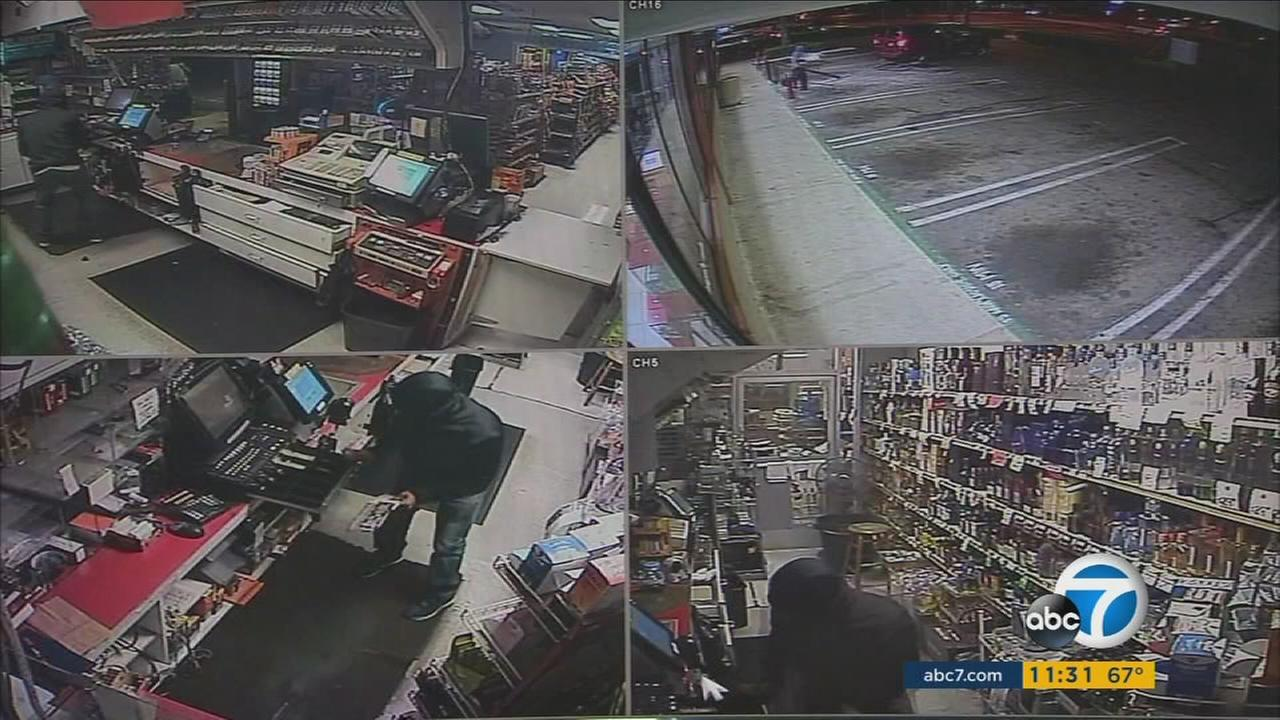 Three men used a van to rip the hinges off a Garden Grove liquor store and steal thousands of California scratcher tickets.