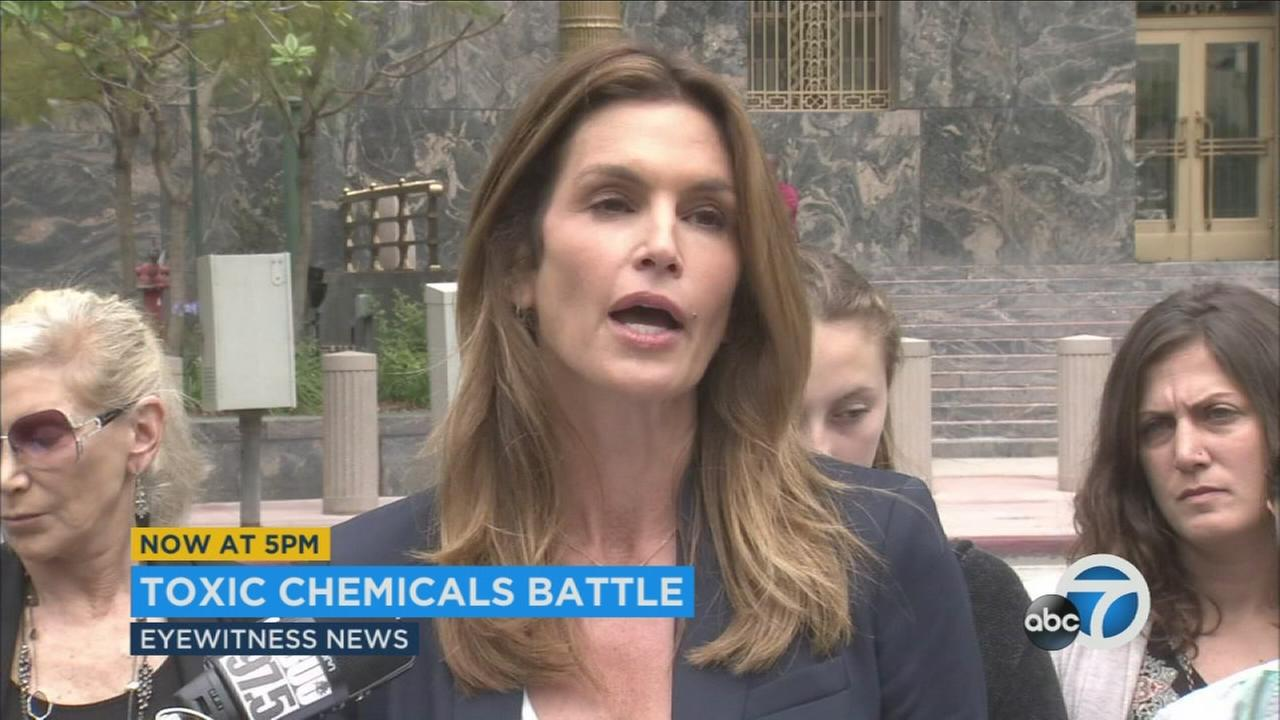 Supermodel Cindy Crawford speaks about the debate over toxic chemicals at Malibu schools outside a Los Angeles courthouse on Tuesday, May 17, 2016.