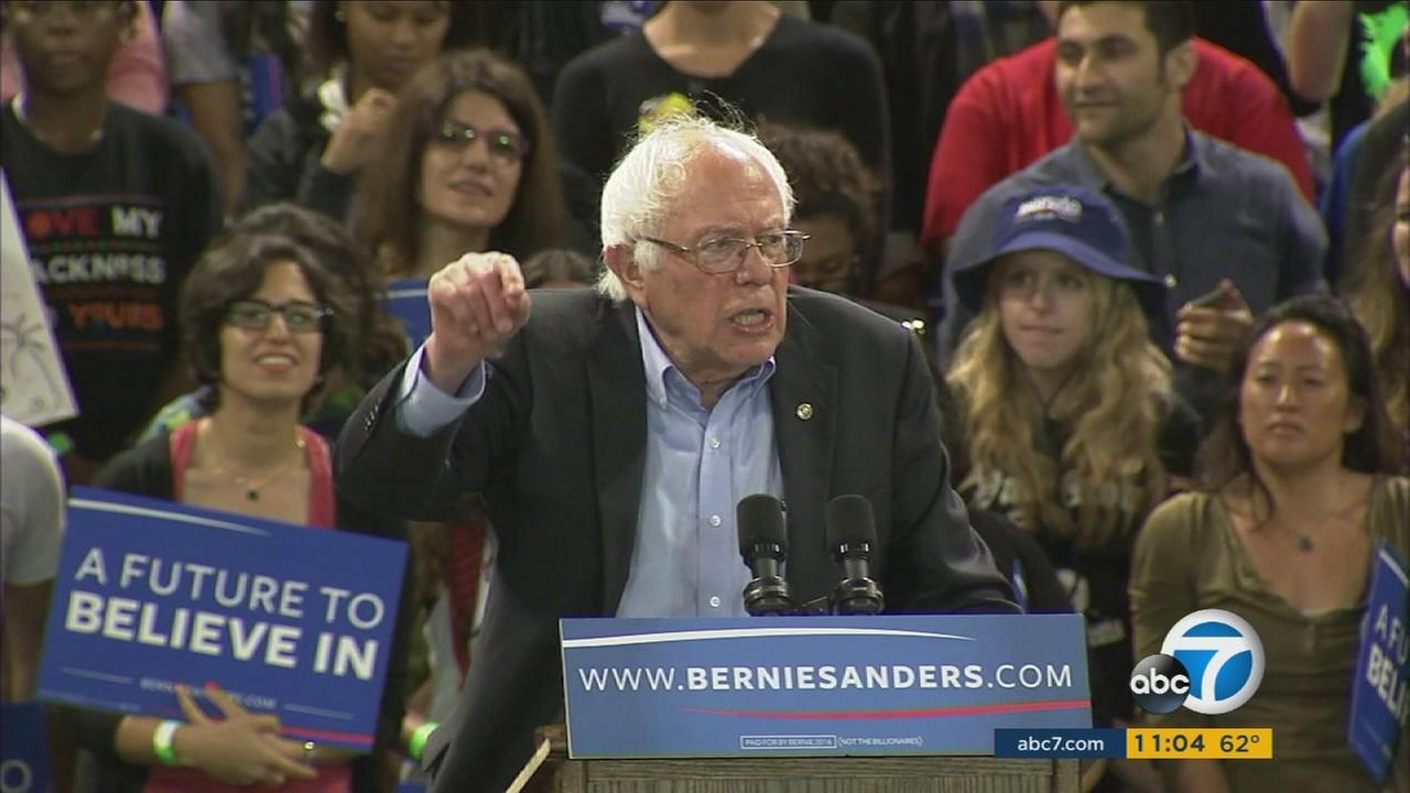 Bernie Sanders speaks at a rally held in the StubHub Center in Carson on Tuesday, May 17, 2016.