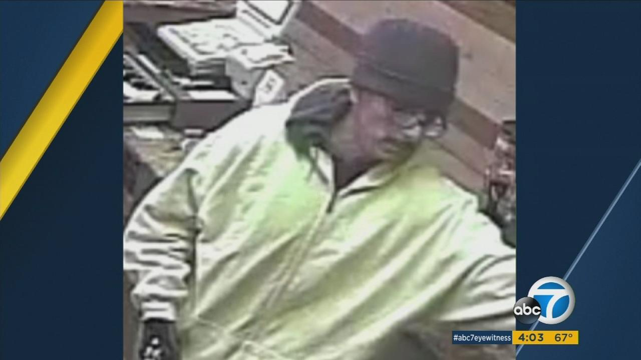 Police are seeking a man who fired his gun into the ceiling of a San Bernardino Farmer Boys restaurant before robbing the registers.