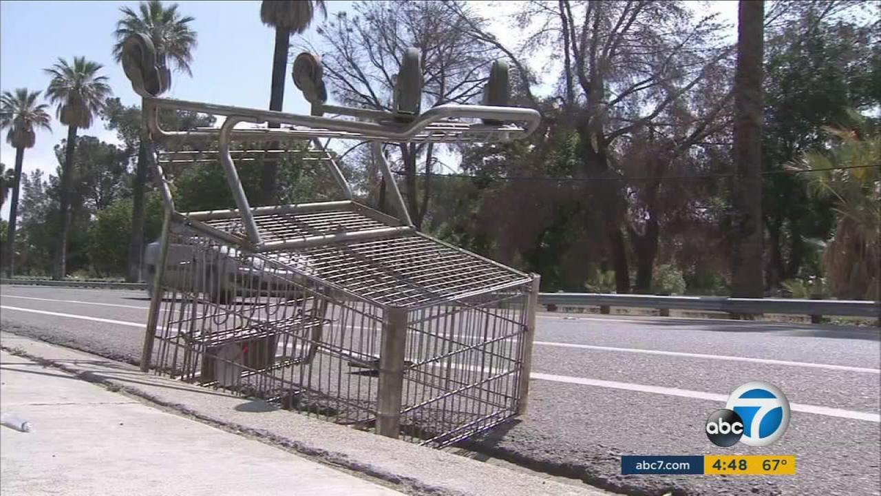 An overturned shopping cart is shown along a Lake Elsinore street in an undated photo.
