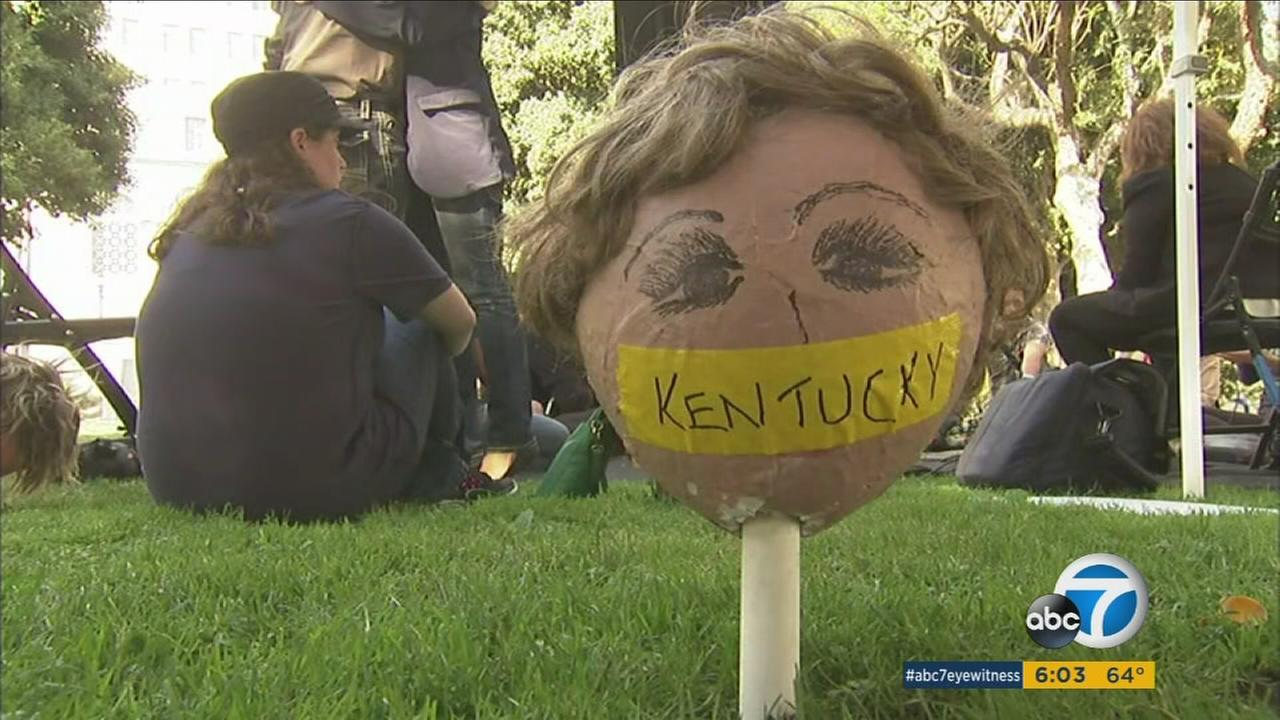 Activists camped out in front of Los Angeles City Hall to express concern about voter suppression in Nevada and other states in the Democratic primary.