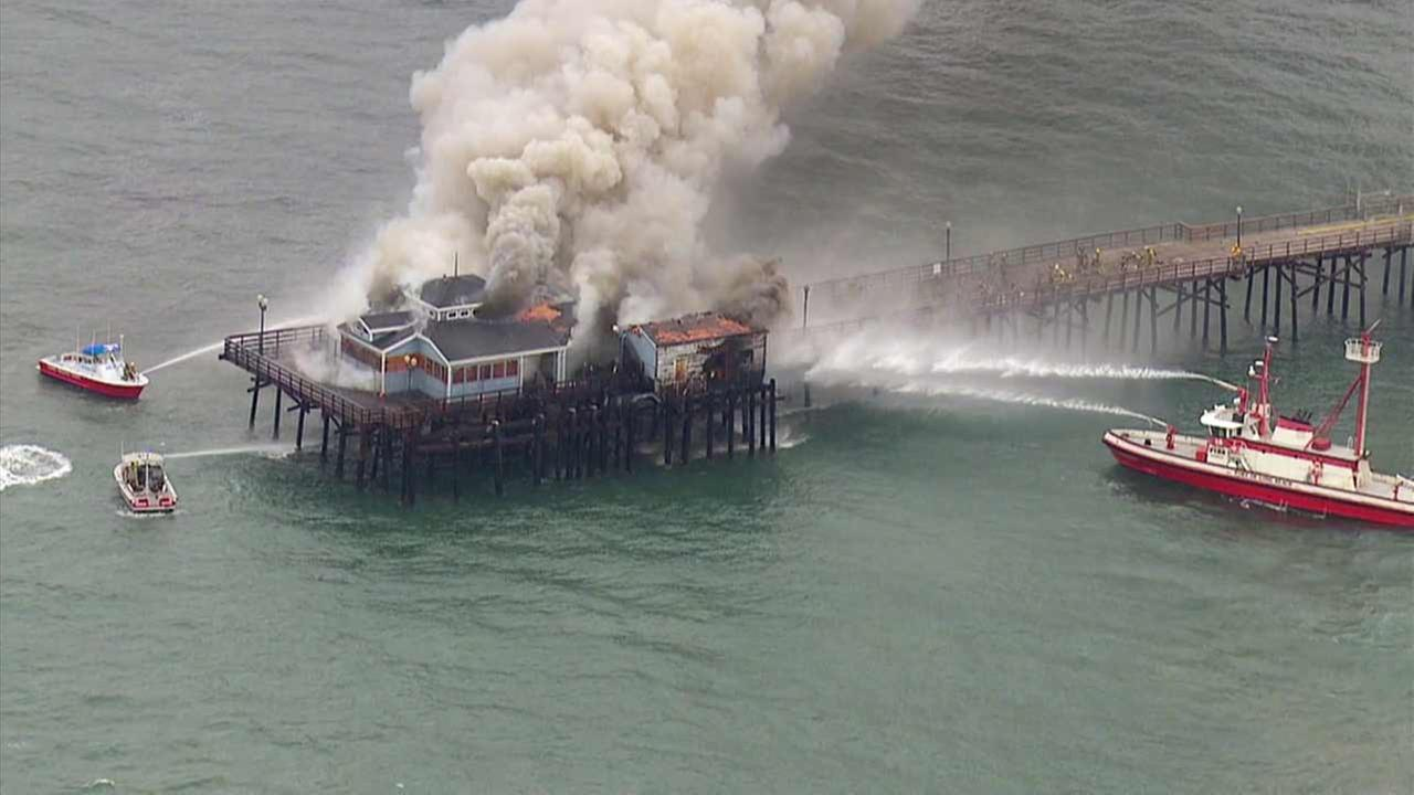 The site of the old Rubys Diner at the edge of the Seal Beach Pier caught fire on Friday, May 20, 2016.