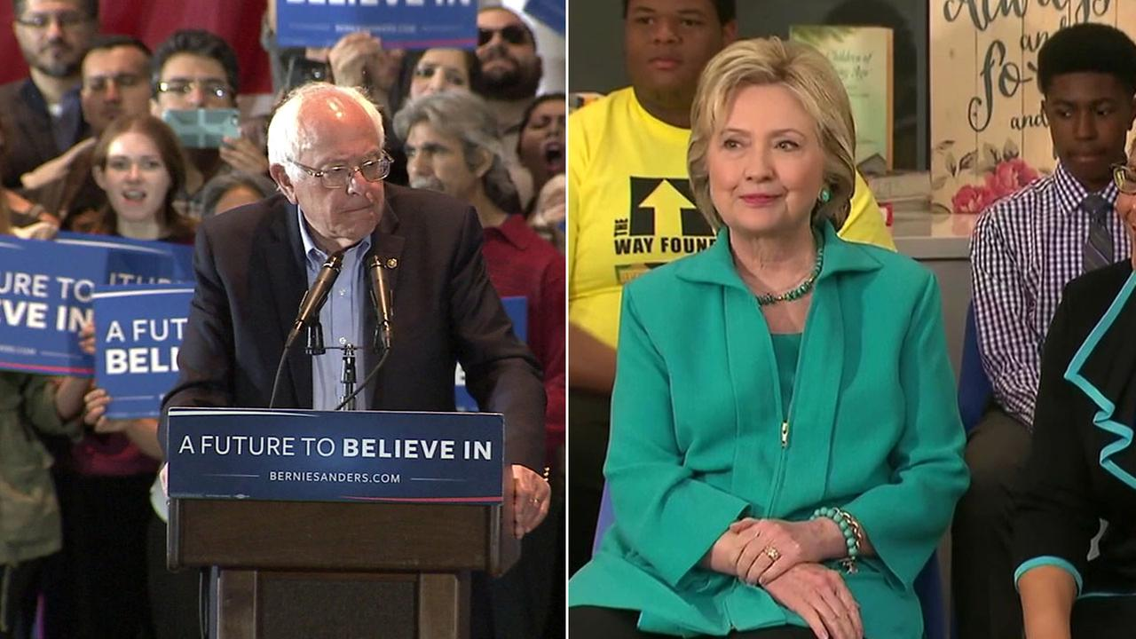 Democratic presidential hopefuls Bernie Sanders and Hillary Clinton are shown during separate events in Southern California.