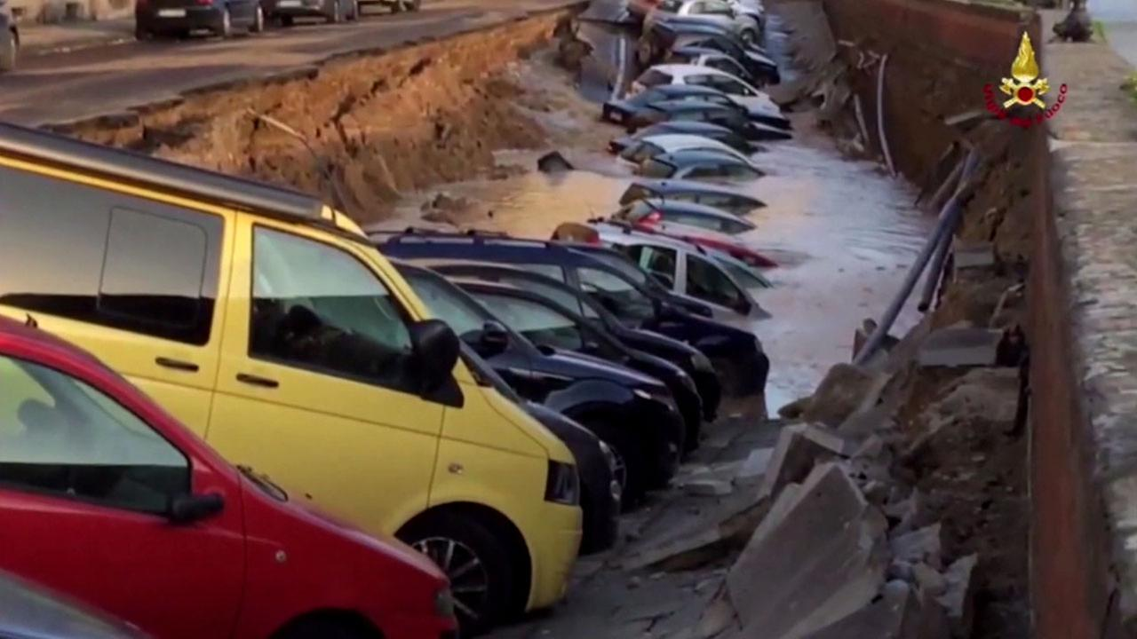 A water main break caused a massive sinkhole in Florence, Italy.