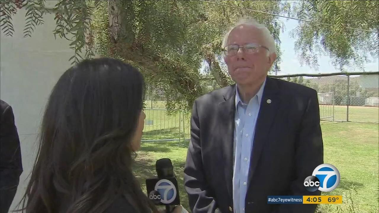 Sen. Bernie Sanders speaks to Eyewitness News in a one-on-one interview on Thursday, May 26, 2016.