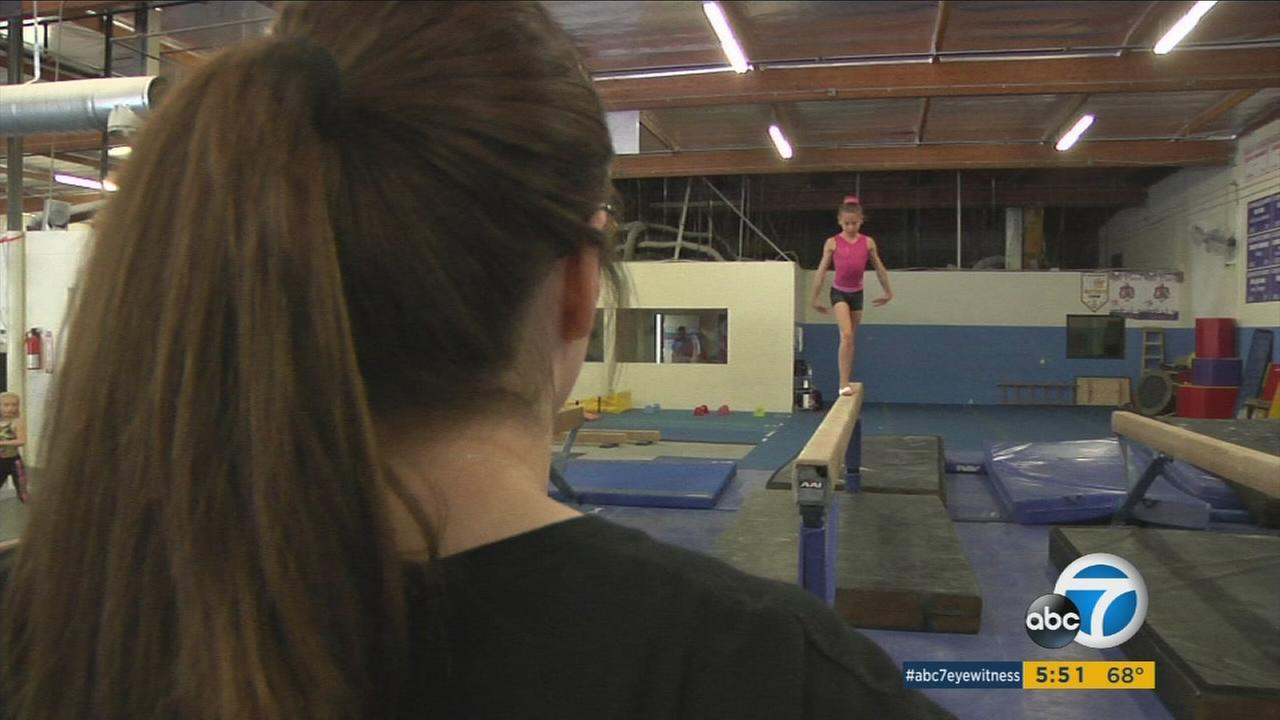 Young gymnasts practicing at a Van Nuys gym are shown in an undated photo.