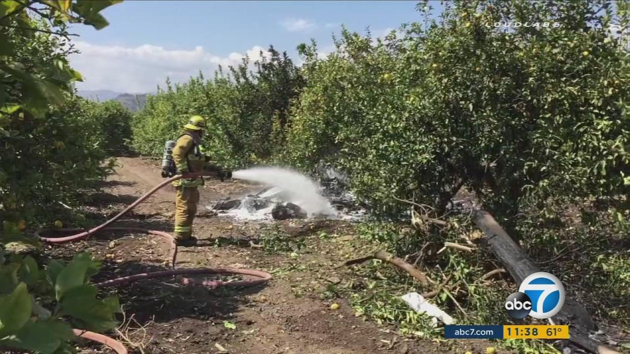 Two people died in the crash of an experimental aircraft in Santa Paula, officials said.