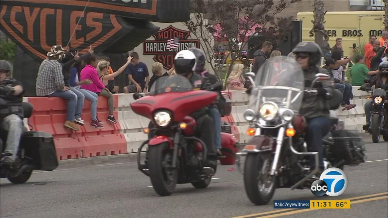 The rumble of thousands of motorcycles filled Indiana Avenue in Riverside for the 17th annual West Coast Thunder Memorial Day ride.