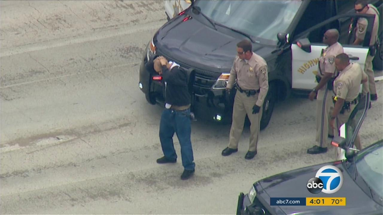 Police chased a stolen car suspect in an SUV from South Gate for more than two hours Monday on freeways and surface streets with light holiday traffic.
