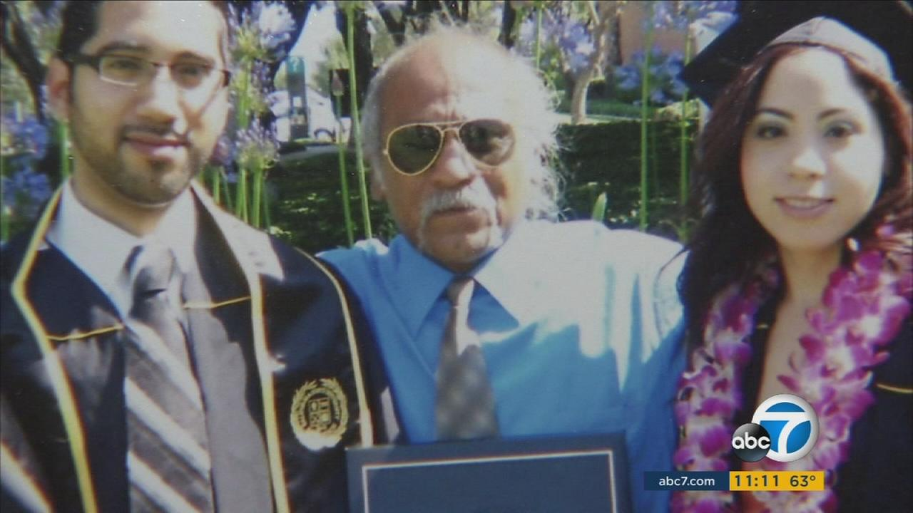 Erik and Sabrina Gonzalez are shown with their father Rojelio during a college graduation in an undated photo.
