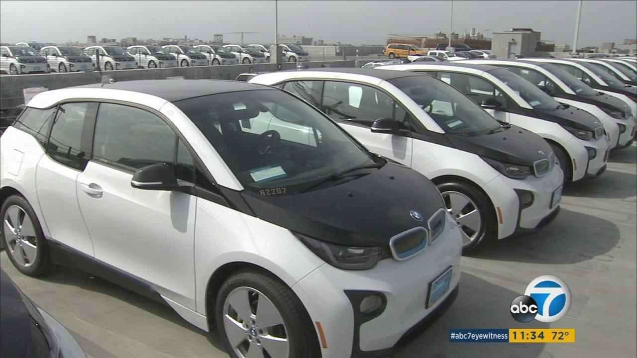 A fleet of BMW i3 cars are shown on the top floor of the Los Angeles Police Departments parking structure in downtown Los Angeles on Wednesday, June 8, 2016.