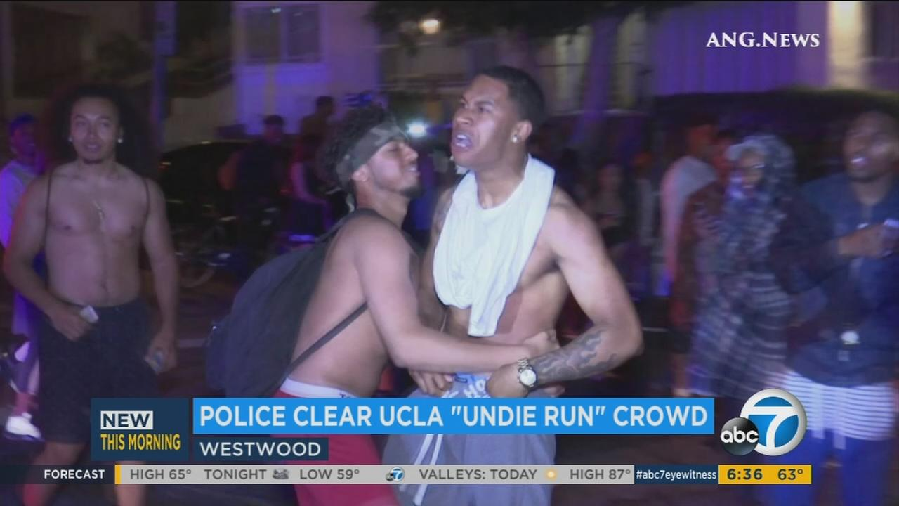 A rowdy UCLA student is shown during the underwear run on campus in the early morning hours of Thursday, June 9, 2016.