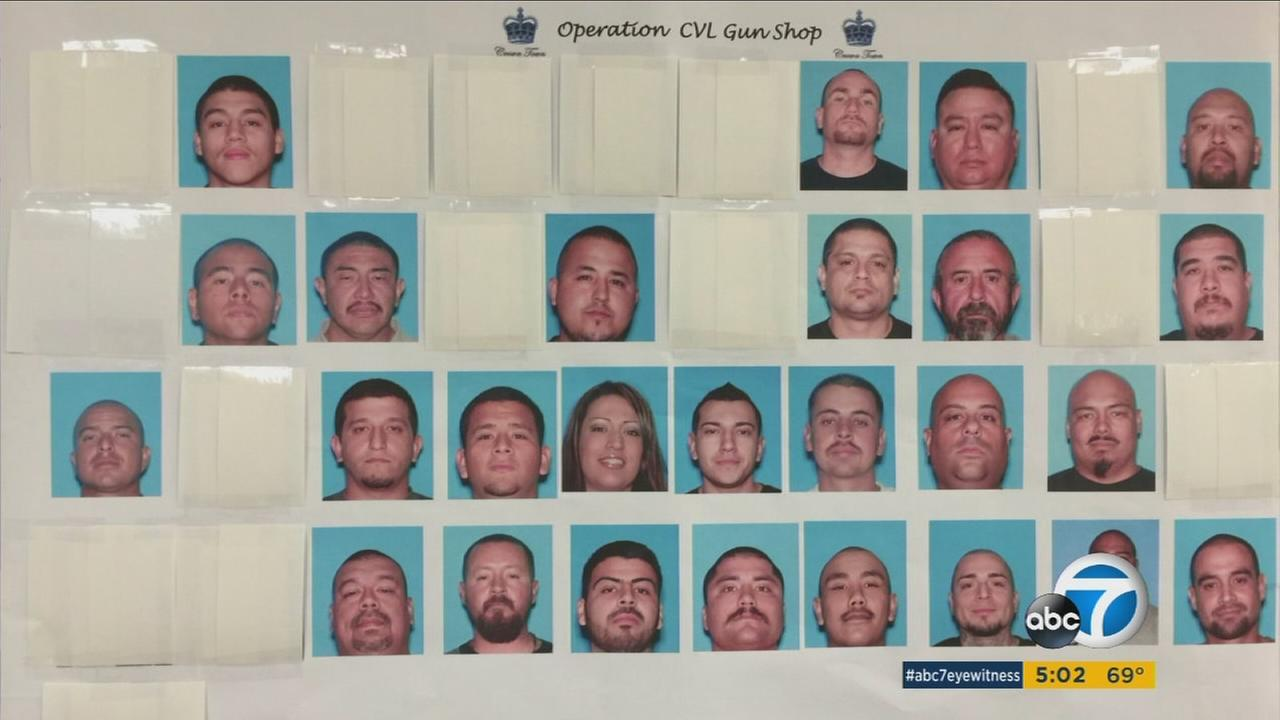 Police said the arrested 52 people in Corona targeting the Mexican mafia on Thursday, June 9, 2016.