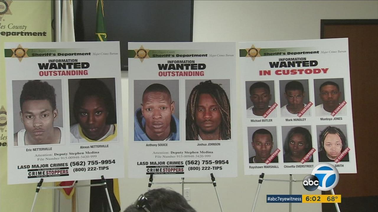 Authorities showed off the mugshots of several suspects in a burglary ring that have targeted homes all over Los Angeles County.