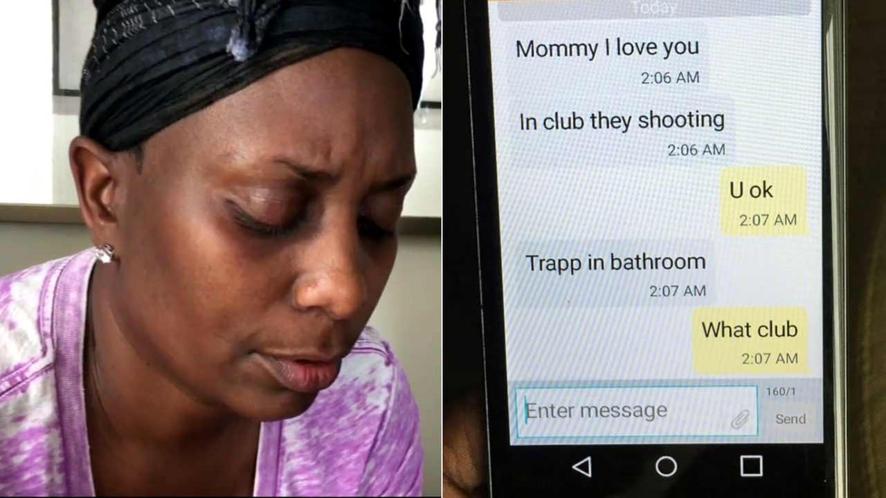 Mina Justice reads text messages sent to her by her son Eddie, 30, who was one of 49 people killed in the Orlando nightclub shooting.
