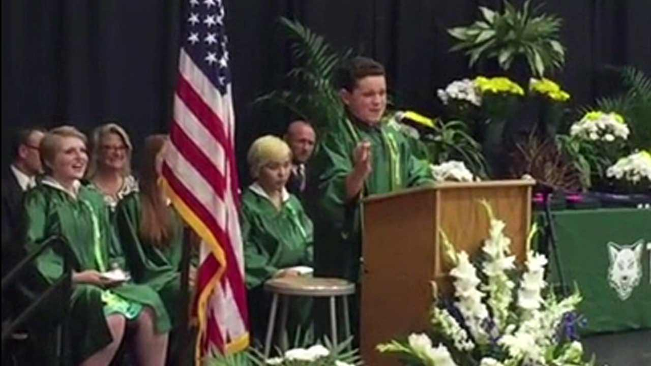 Jack Aiello speaks at his graduation from Thomas Middle School in the Chicago Area on June 7, 2016.