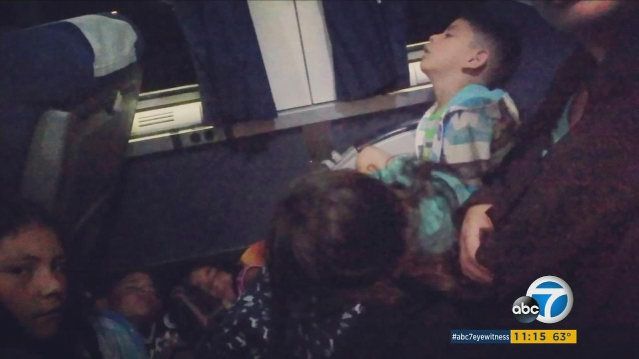 A Glendora mother and her children are seen minutes before getting kicked off an Amtrak train near Pomona, Calif., in this undated photo.