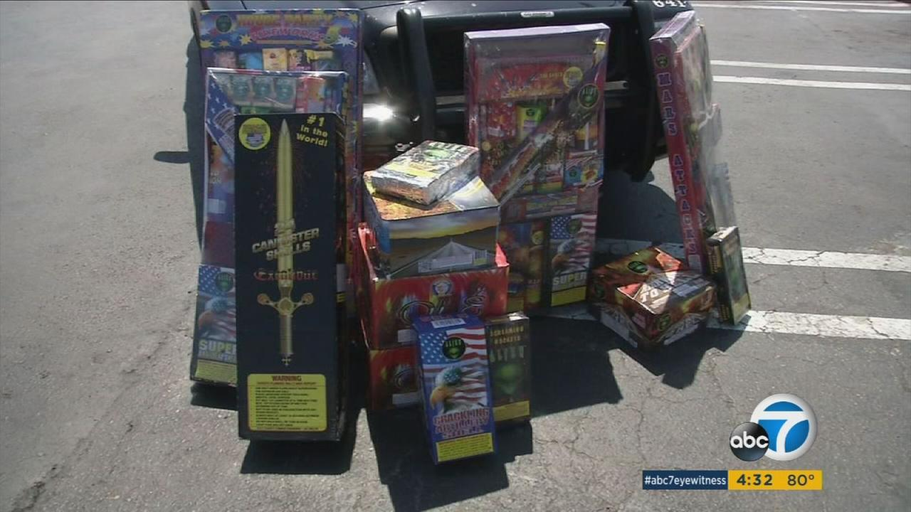 A pile of fireworks confiscated by Santa Police police in an exclusive ride-along.
