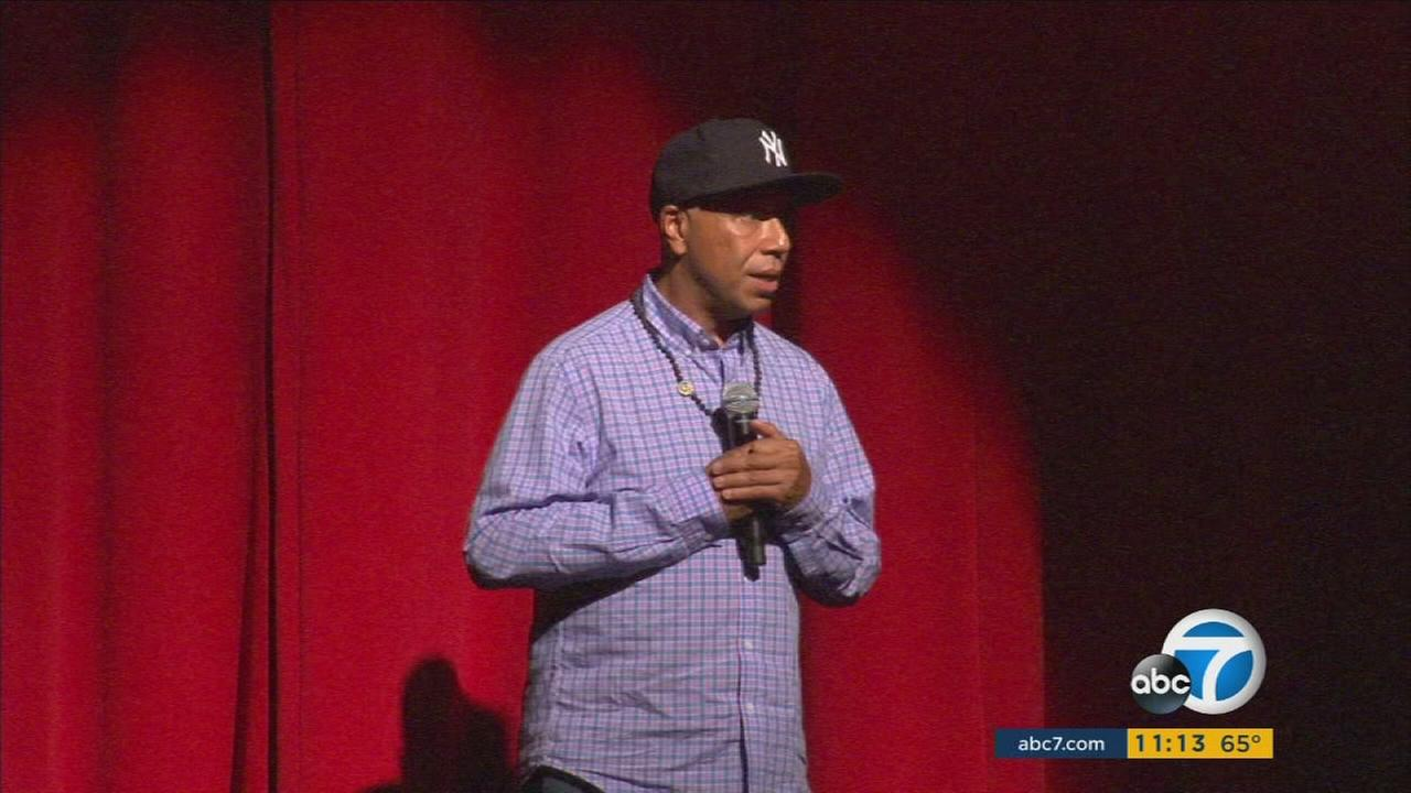 Music mogul Russell Simmons is shown onstage at his first All Def Town Hall meeting on Thursday, June 23, 2016.