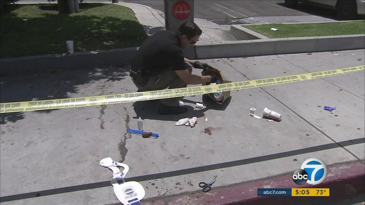 An investigator examines the scene where an LAPD officer was injured chasing after an escaped suspect in Winnetka.