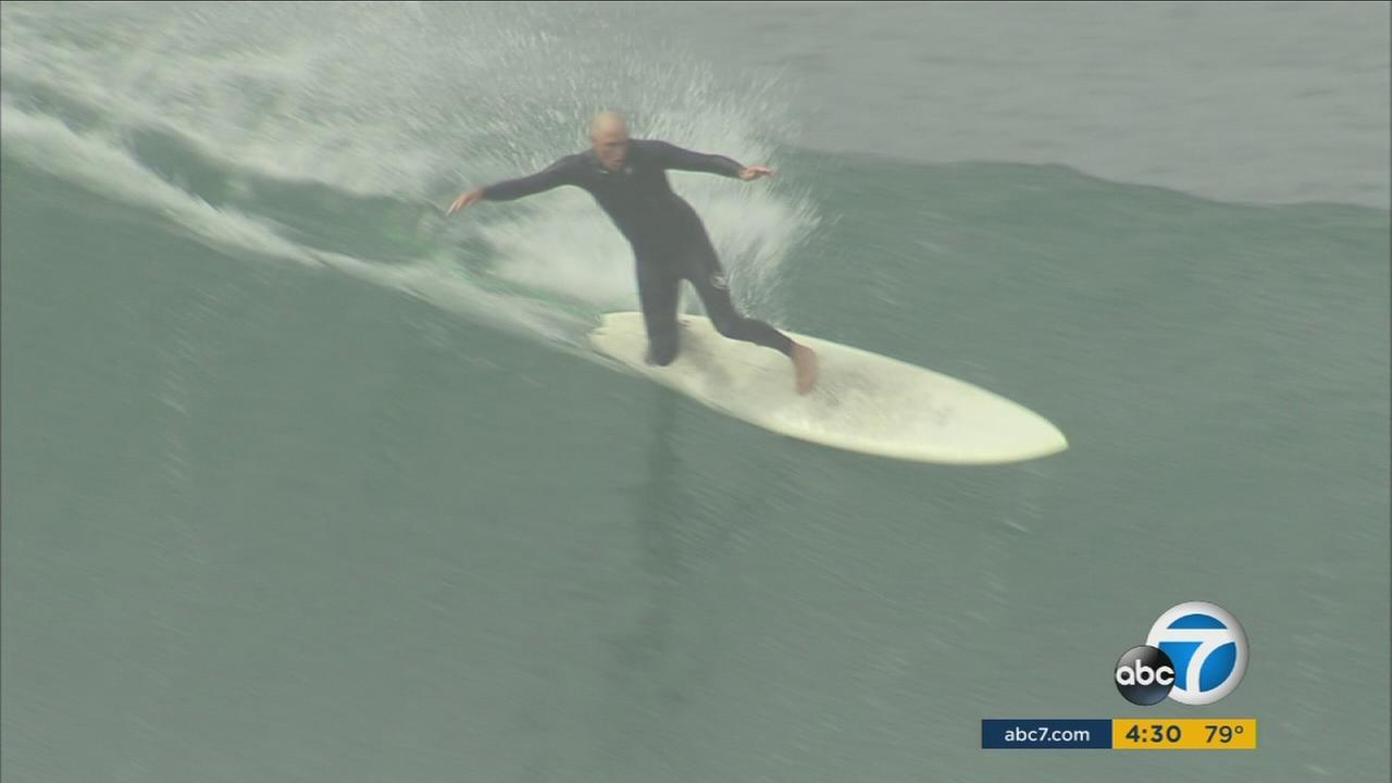 Surfers were enjoying big waves at Newport Beach on Saturday, while inexperienced swimmers were warned to stay out of the water.