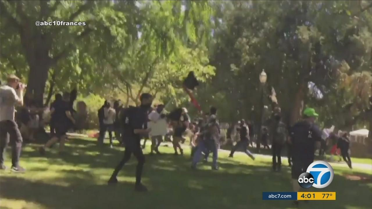 Neo-Nazis and counter-protesters clashed at a rally outside the state Capitol building in Sacramento, California, on Sunday, June 26, 2016.