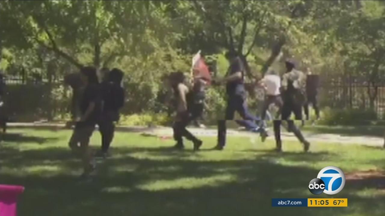 Several people were injured as members of the Traditionalist Workers Party and counter-protesters clashed at a rally outside the state Capitol building in Sacramento, California.