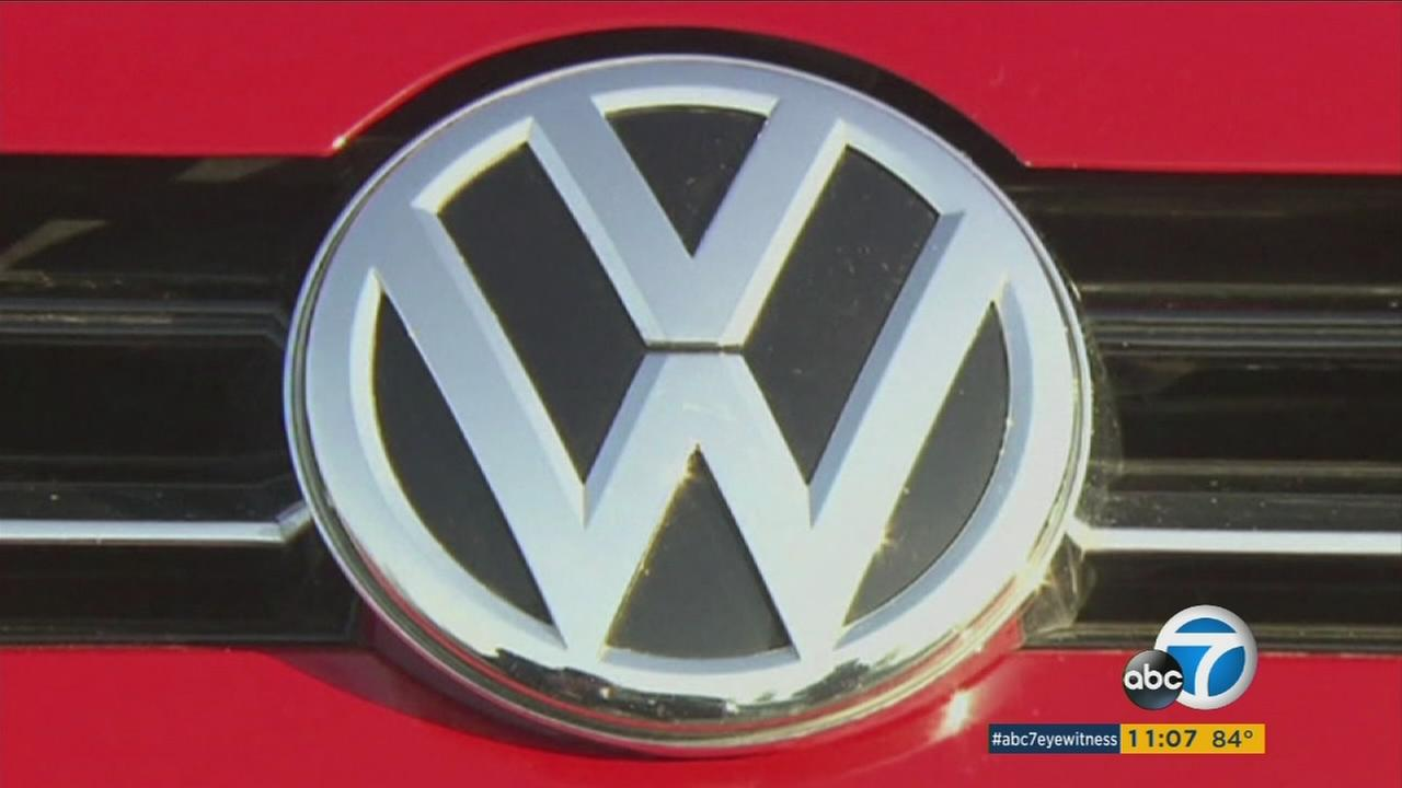 The Volkswagen logo is shown on the grill of one of the companys cars in an undated photo.