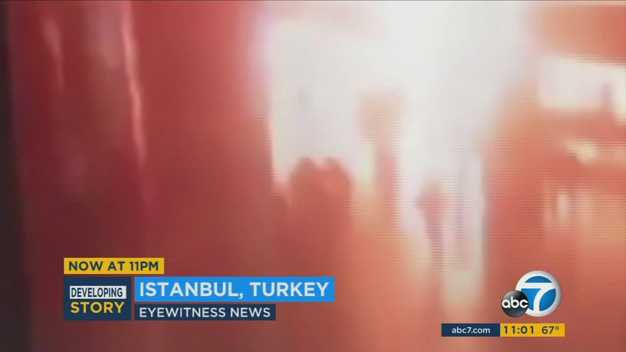 Video from inside Istanbuls Ataturk airport shows suicide bombers detonating explosives as they killed dozens and injured more than 100 people on Tuesday, June 28, 2016.