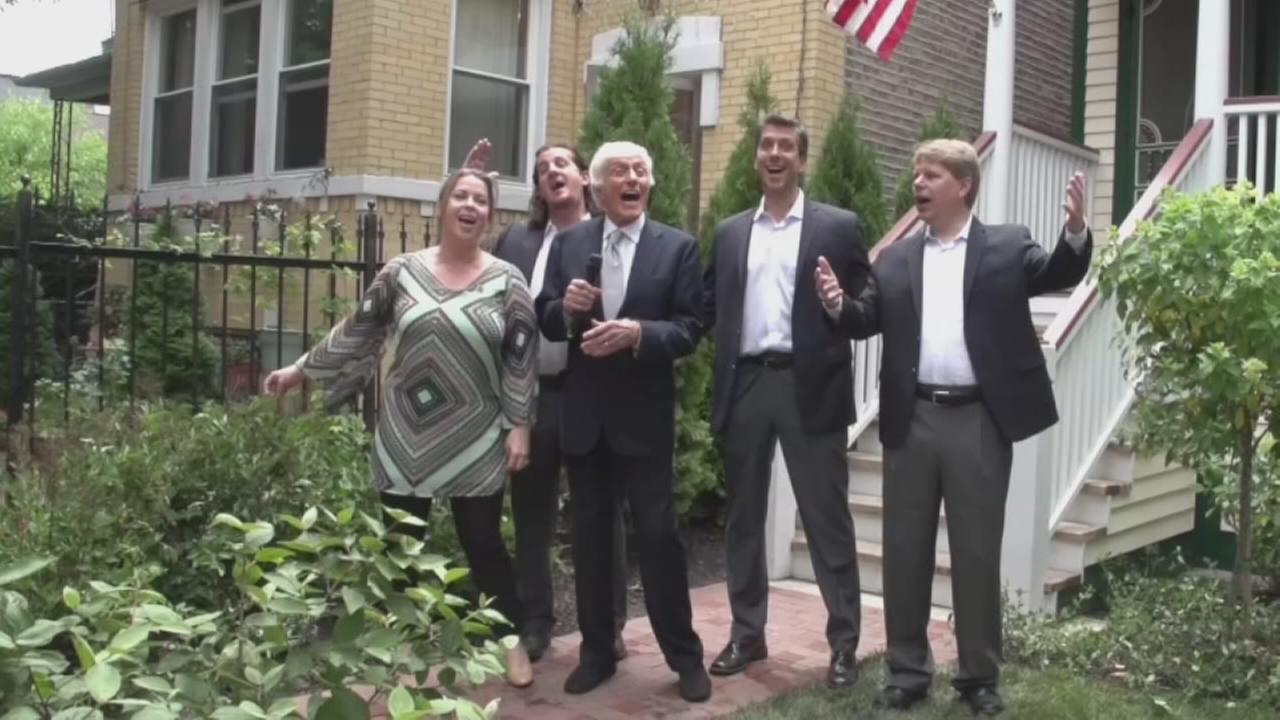 Dick Van Dyke with his wife Arlene led his acapella group the Vantastix in Lets Go Fly a Kite at the Walt Disney Birthplace in Chicago.