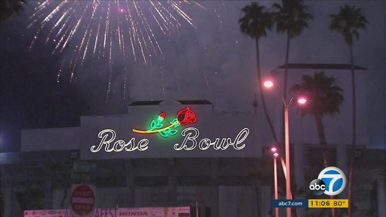 Fireworks are seen above the Rose Bowl in Pasadena in this undated photo.