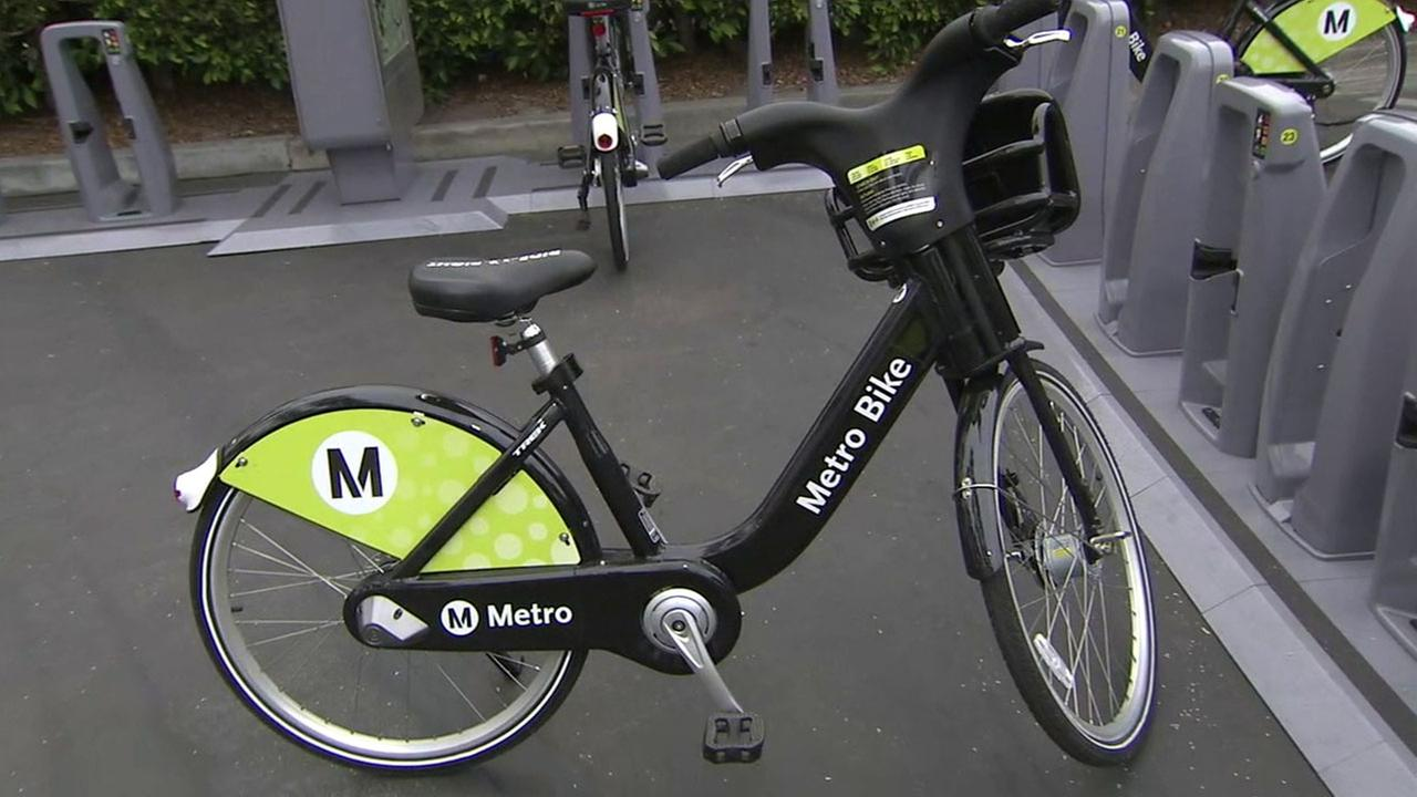 A Metro bike thats part of the bike share program is shown at one of 65 stations in downtown Los Angeles on Thursday, July 7, 2016.