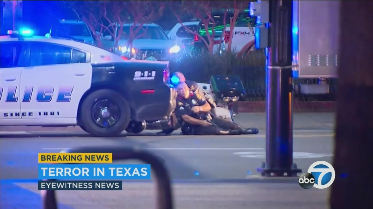 Snipers opened fire during a march in downtown Dallas, killing and injuring several officers on Thursday, July 7, 2016.