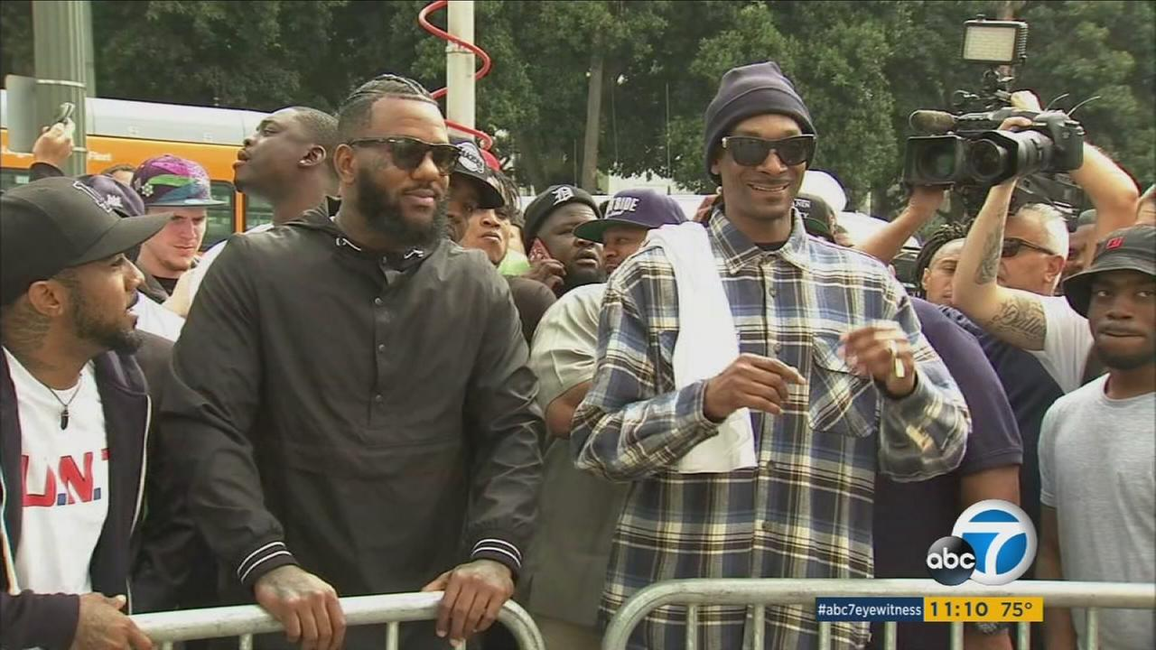 Rappers Snoop Dogg and The Game are shown during a demonstration to get a peaceful dialogue going between LAPD and the community on Friday, July 8, 2016.
