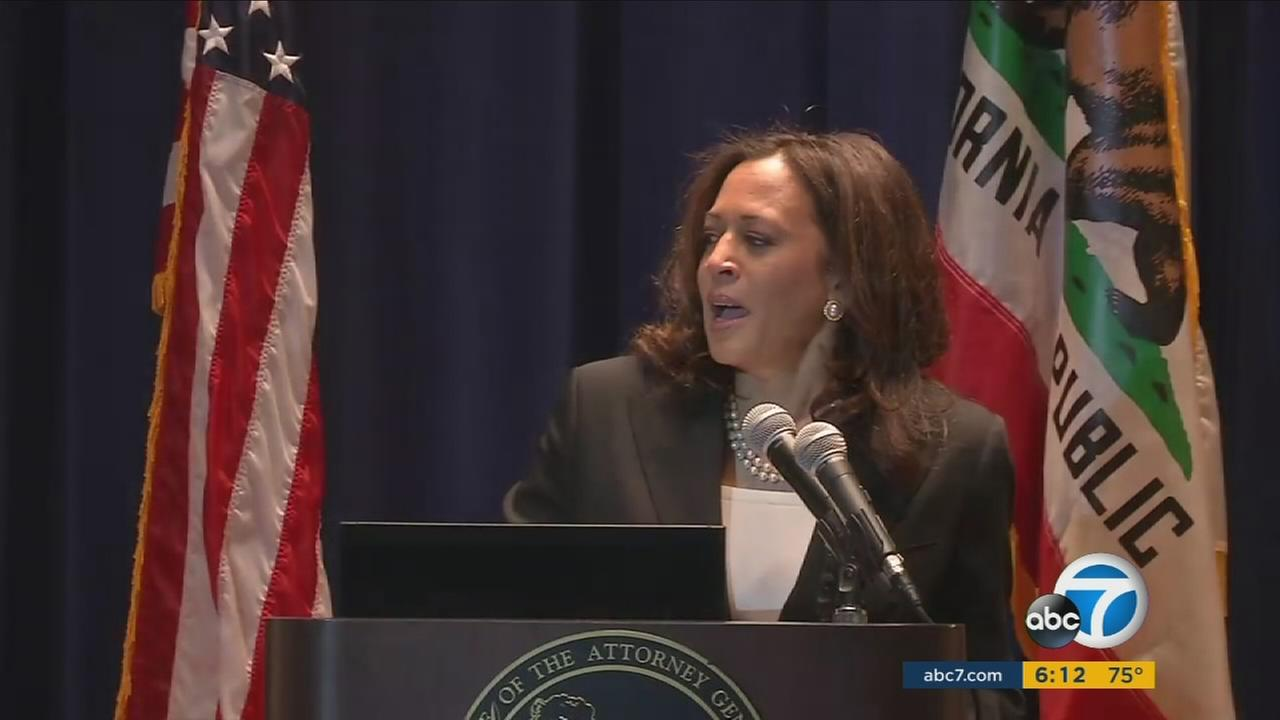 Kamala Harris swears in 18 members to the new racial and identity profiling advisory board in downtown Los Angeles on Friday, July 8, 2016.