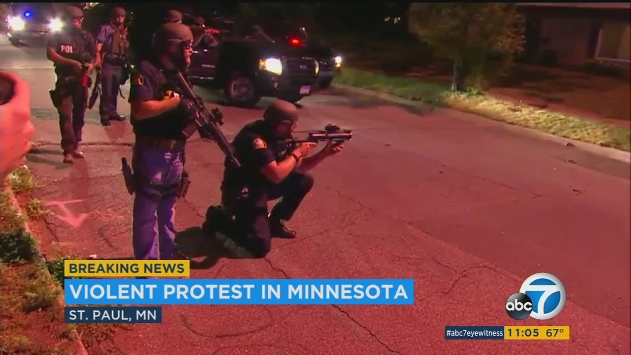 A protest in St. Paul, Minn., turned violent on Saturday, as protesters shut down parts of Interstate 94 and began throwing fireworks, Molotov cocktails, bricks and rebar at officers.