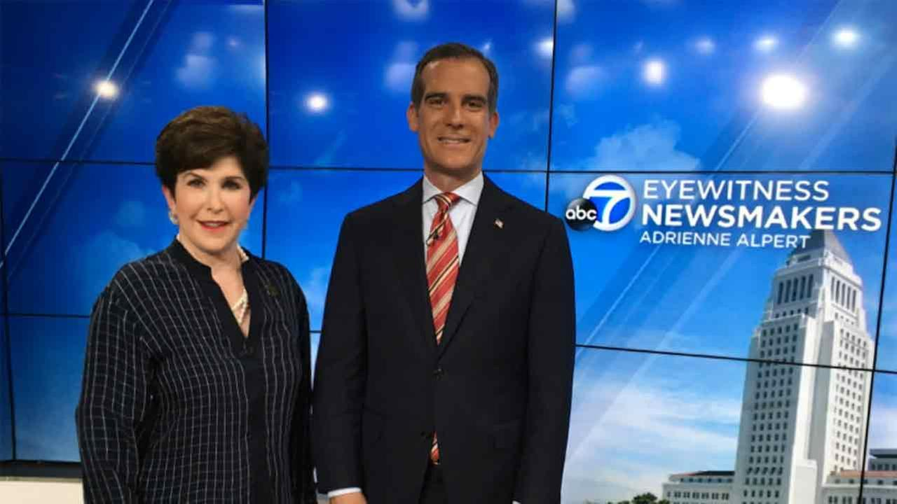 Adrienne Alpert and Los Angeles Mayor Eric Garcetti.
