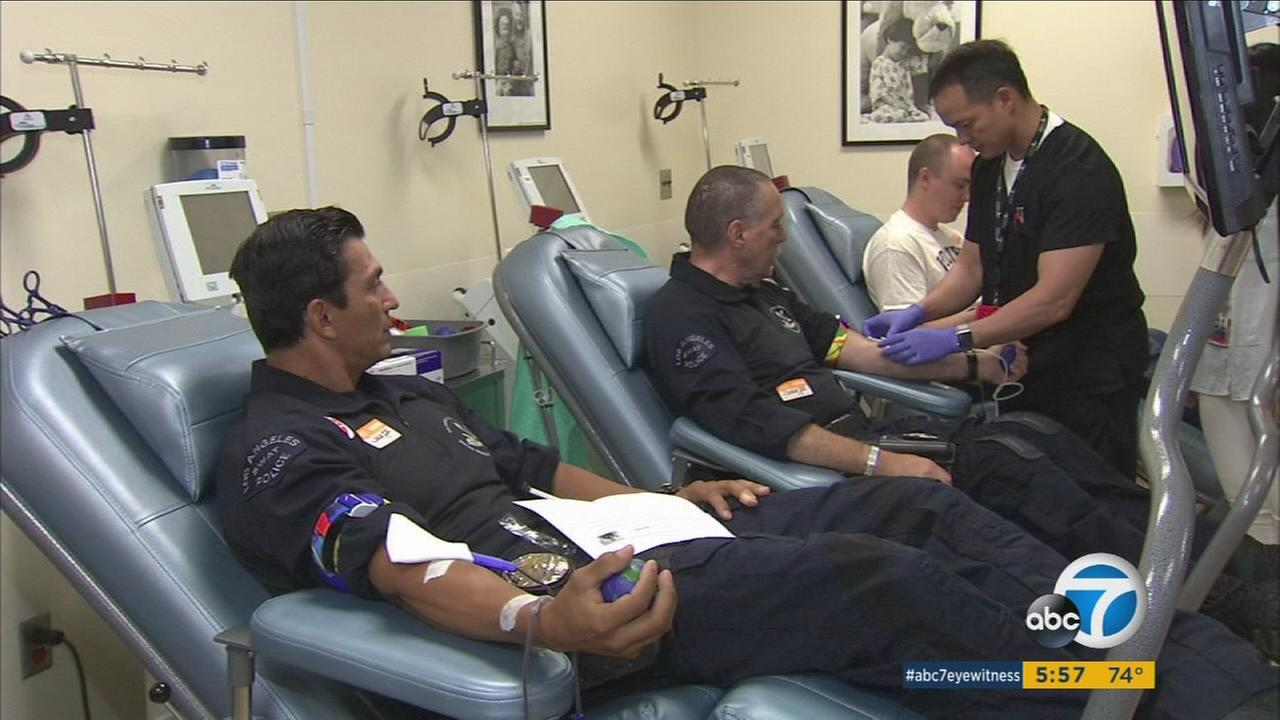 Los Angeles Police Department SWAT officers donate blood to Childrens Hospital Los Angeles during a drive on Friday, July 16, 2016.
