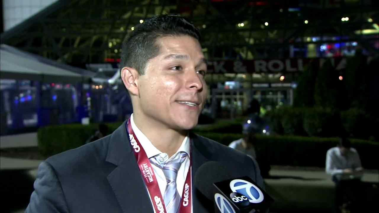 Malibu resident and Donald Trump supporter Chris Garcia speaks to Eyewitness News at the Republican National Convention in Cleveland, Ohio, on Monday, July 18, 2016.
