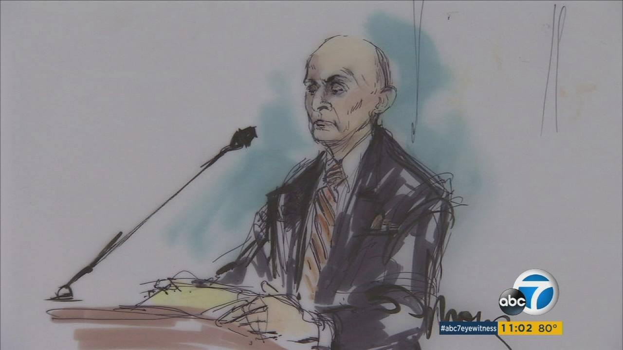 Former Los Angeles County Sheriff Lee Baca sits in court in Los Angeles on Monday, July 18, 2016.