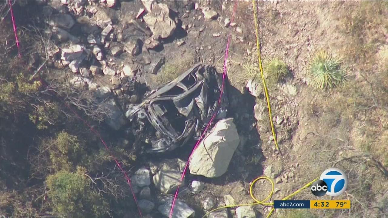 One person was killed after a car crashed 800 feet down a mountain side in the Angeles National Forest on Sunday, July 17, 2016.