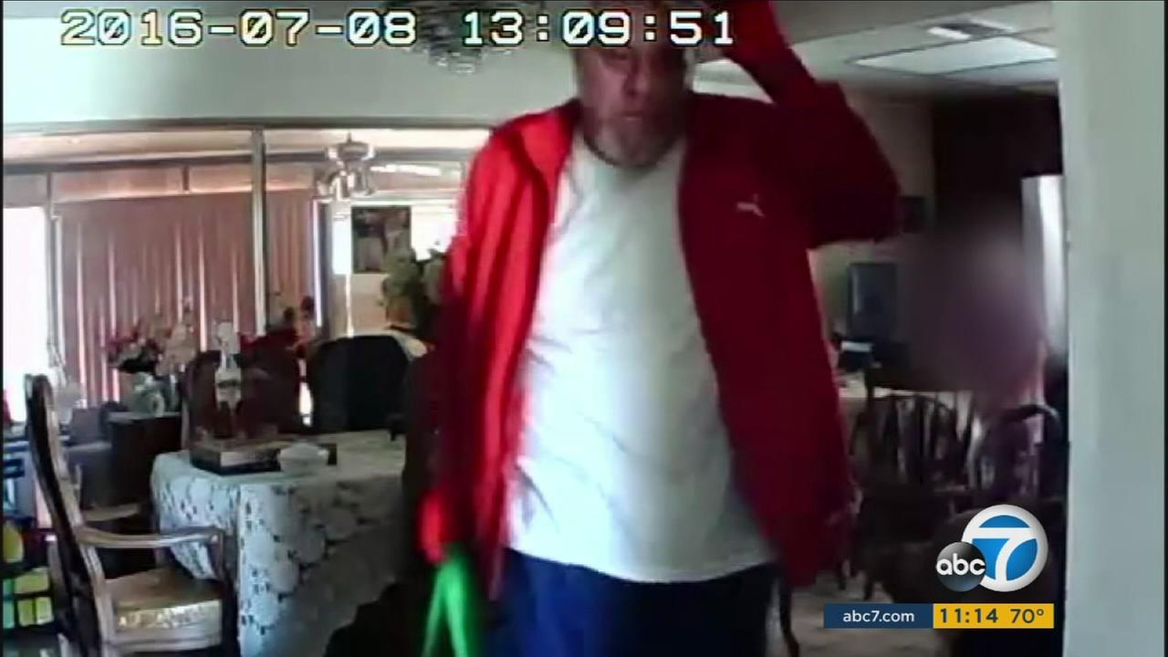 One of the burglary suspects who distracted a 93-year-old Rowland Heights woman is shown in surveillance video.