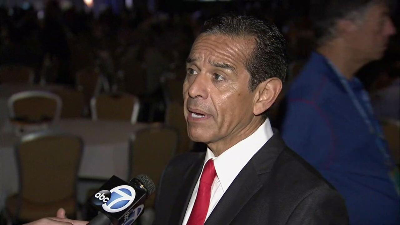 Former Los Angeles Mayor Antonio Villaraigosa speaks to Eyewitness News from the Democratic National Convention in Philadelphia on Wednesday, July 27, 2016.