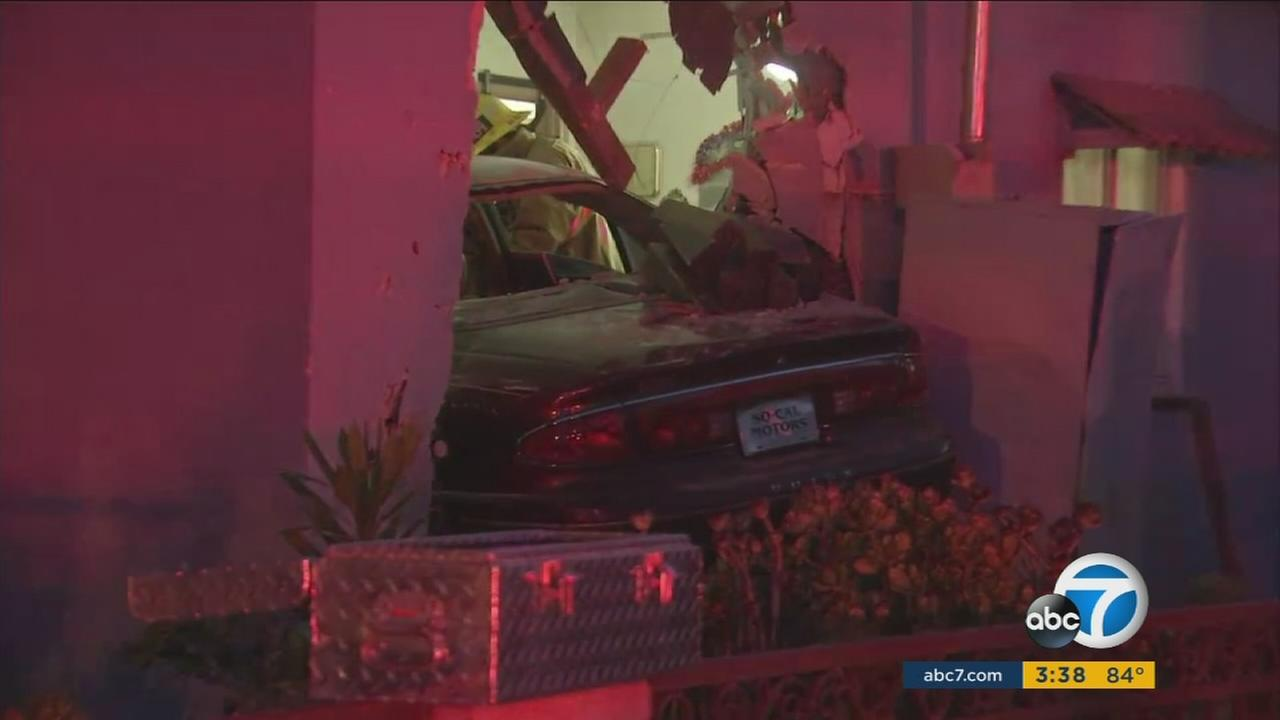 Police are searching for a driver who they said crashed into a Harbor Gateway prayer meeting, killing one and injuring several others on Wednesday, July 28, 2016.