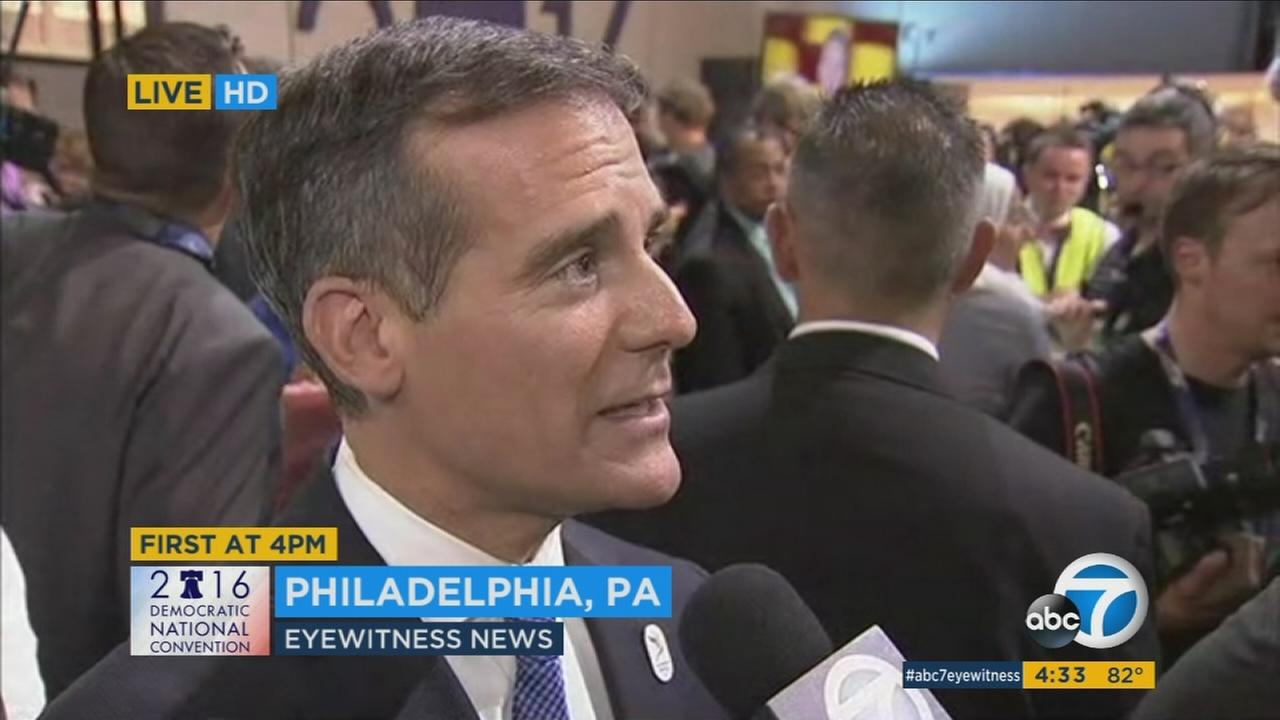 Los Angeles Mayor Eric Garcetti spoke at the Democratic National Convention on Thursday, July 28, 2016.